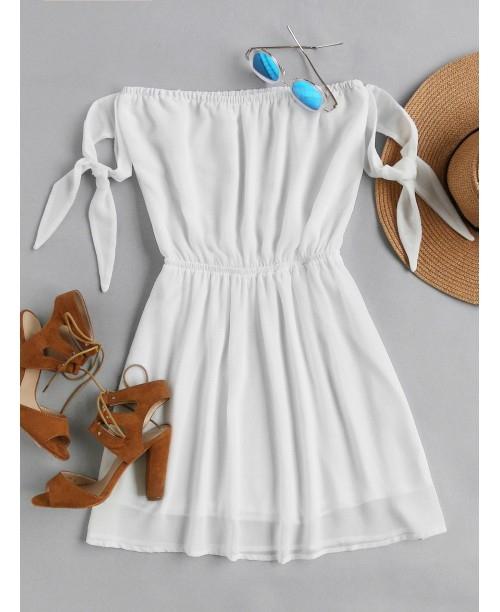 Bardot Self Tie Sleeve Elastic Waist Dress