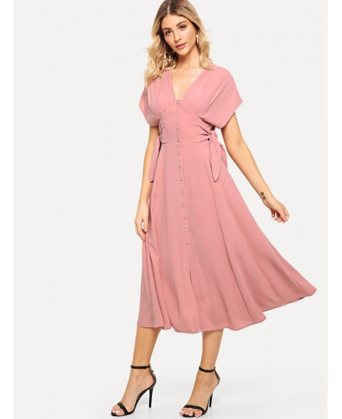 Batwing Sleeve Knot Side Button Up Dress