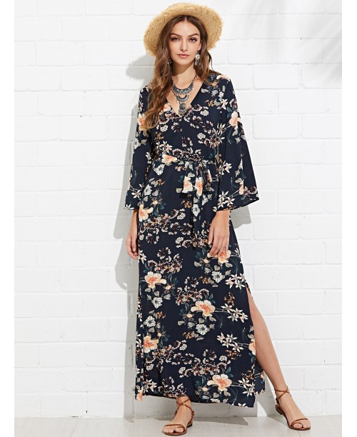 Bell Sleeve Floral Dress with Belt
