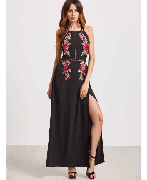 Black Backless Hollow High Slit Appliques Dress