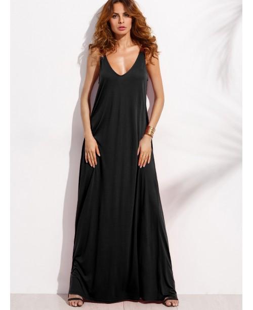 Black Double V Neck Sleeveless Maxi Tent Dress