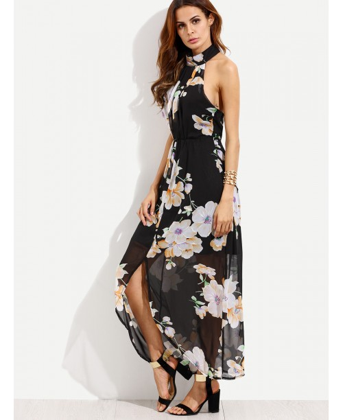 Black Flower Print Halter Neck Slit Chiffon Dress