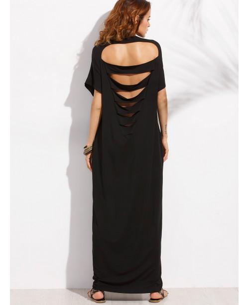 Black Pocket Cutout Back Dolman Sleeve Maxi Dress