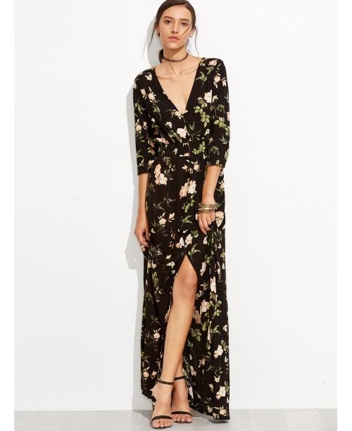 Black V Neck Florals Wrap Maxi Dress