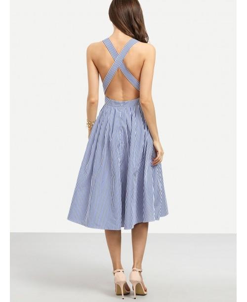 Blue Striped Sleeveless Criss Cross Back Dress