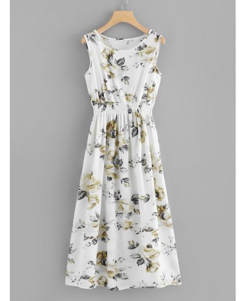 Botanical Print Elastic Waist Tank Dress