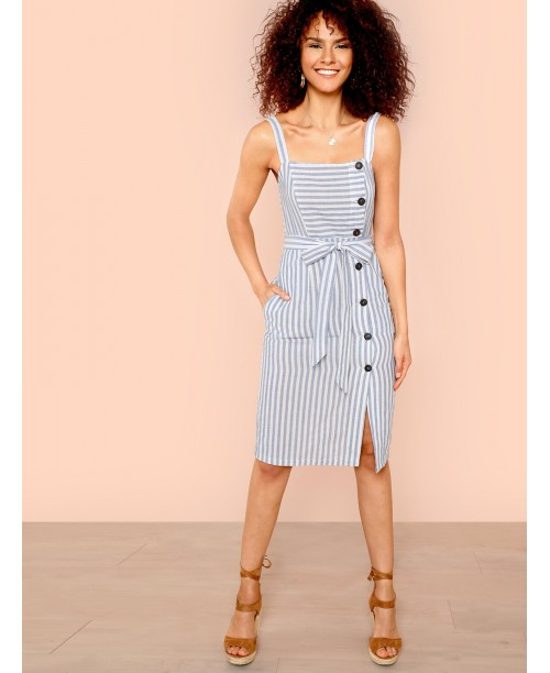 Button Up Self Belted Striped Dress with Strap