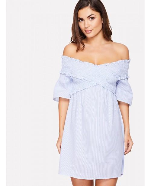 Cross Wrap Shirred Off Shoulder Dress