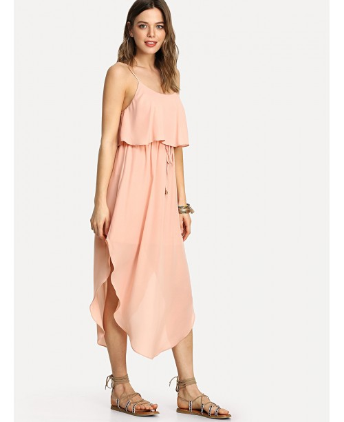 Curved Hem Double Layer Cami Dress