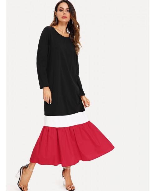 Cut And Sew Ruffle Hem Dress