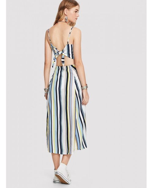 Cut Out Knot Back Striped Cami Dress