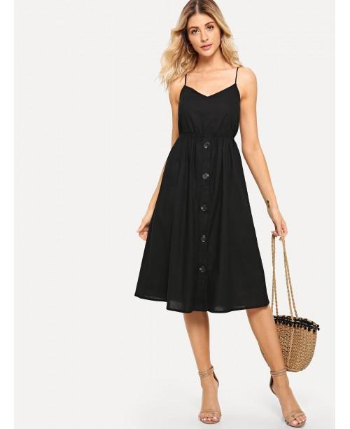 Cutout Tie Back Buttoned Cami Dress