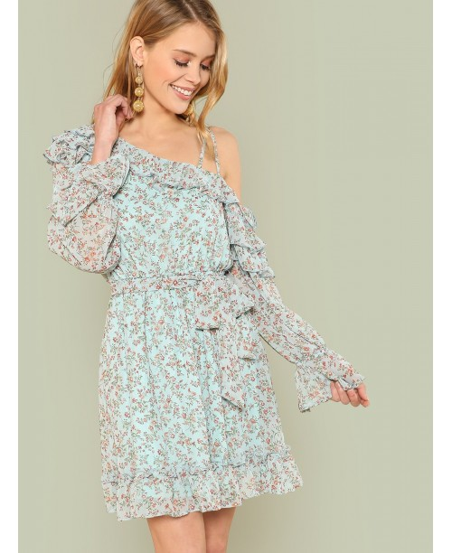 Daisy Print Ruffle Trim Dress