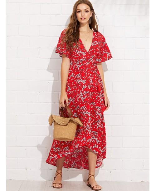 Deep V-Neck Asymmetric Floral Wrap Dress
