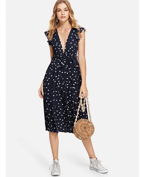 Deep V Neck Belted Polka Dot Dress