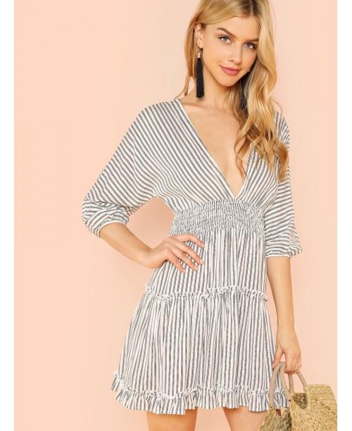 Deep V-Neck Ruffle Striped Dress
