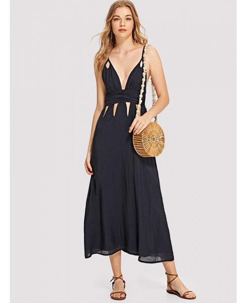 Deep V Neckline Cut Out Cami Dress
