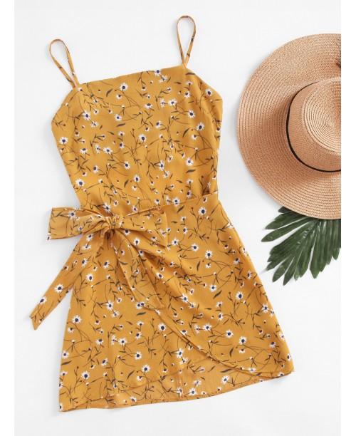 Ditsy Print Open Back Wrap Hem Cami Dress