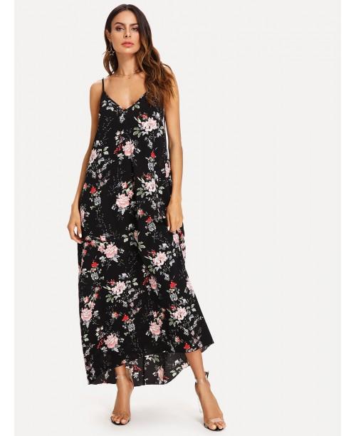 Double V Neck Floral Cami Dress