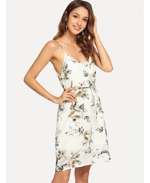 Double V Neckline Tie Waist Floral Cami Dress
