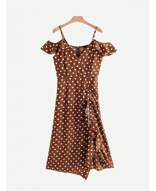 Drawstring Detail Spot Ruffle Dress