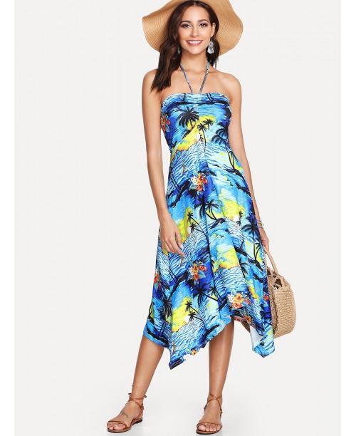 Drawstring Halter Bandeau Dress