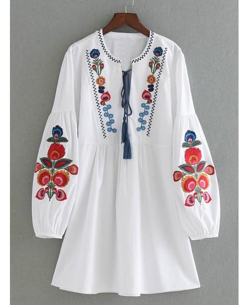 Drop Shoulder Flower Embroidery Tassel Tie Dress