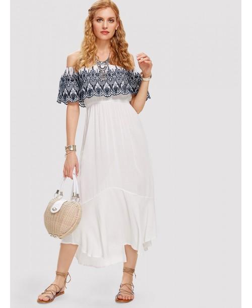 Embroidered Flounce Bardot Neck Dress
