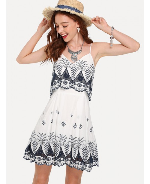 Embroidered Layered Cami Dress