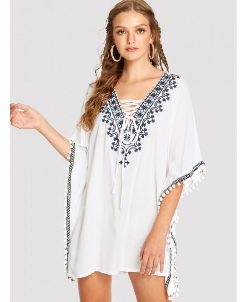 Embroidered Pompom Trim Poncho Dress