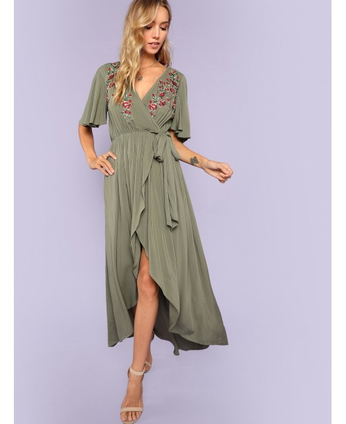 Floral Embroidered Asymmetrical Hem Surplice Wrap Dress