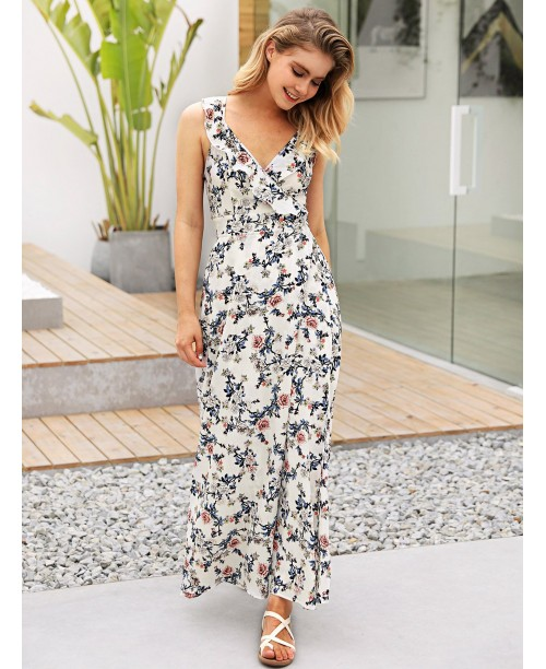 Floral Print Backless Knot Dress