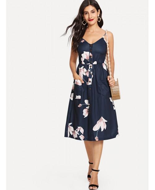 Floral Print Button Front Cami Dress