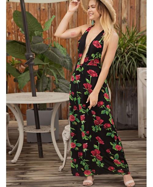 Floral Print Deep V Neck Backless Dress