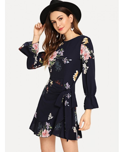 Floral Print Flounce Sleeve Self Belted Dress