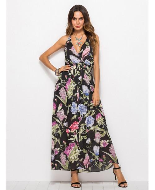 Floral Print Frill Deep V Neck Dress