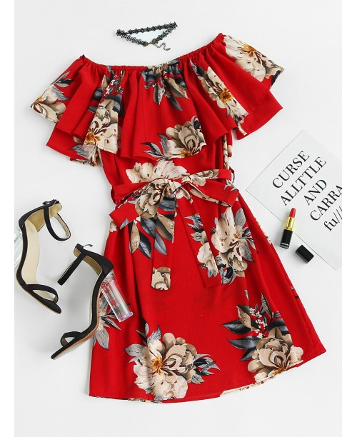 Floral Print Layered A Line Dress With Belt
