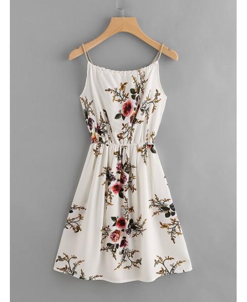Floral Print Random Self Tie Cami Dress