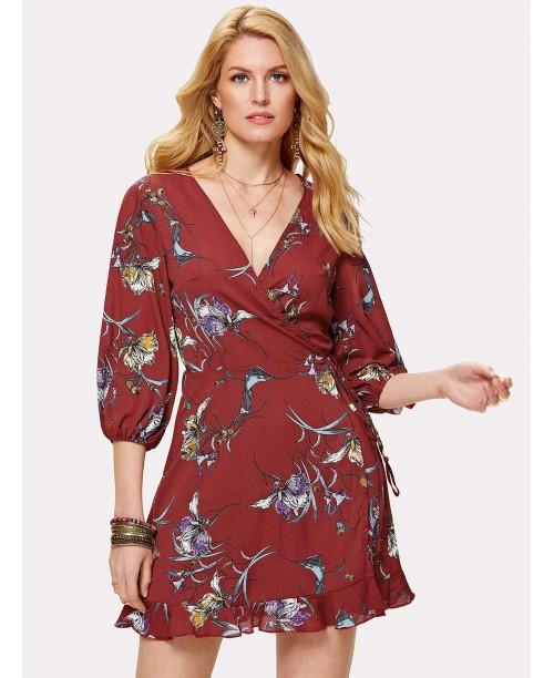 Floral Print Ruffle Hem Surplice Wrap Dress