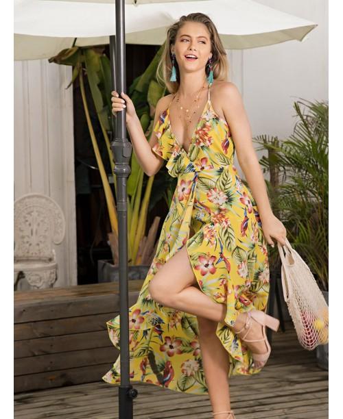 Floral Print Ruffle Trim Asymmetrical Hem Dress