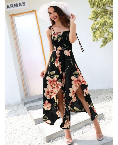 Floral Print Split Hem Cami Dress