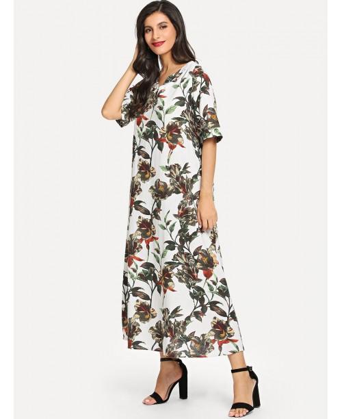 Floral Print V Neck Longline Dress