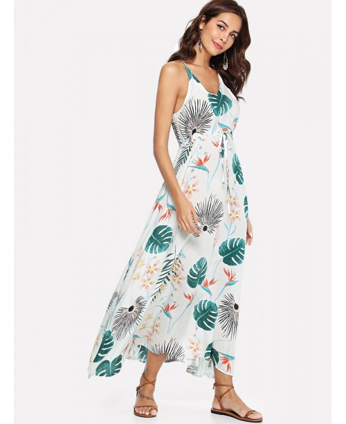 Floral Tie Waist Strap Dress