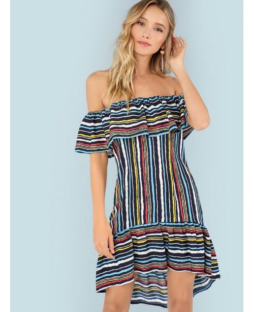 Flounce Foldover Striped Bardot Dress