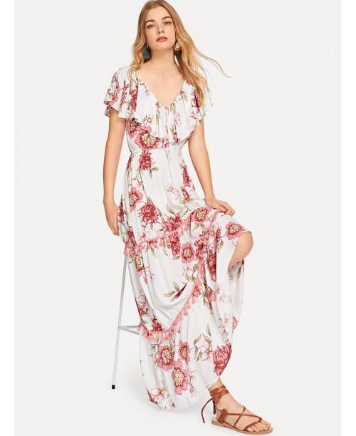Flounce Shoulder Tassel Trim Floral Dress