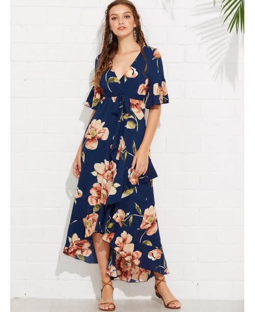 Flounce Sleeve Floral Print Wrap Dress