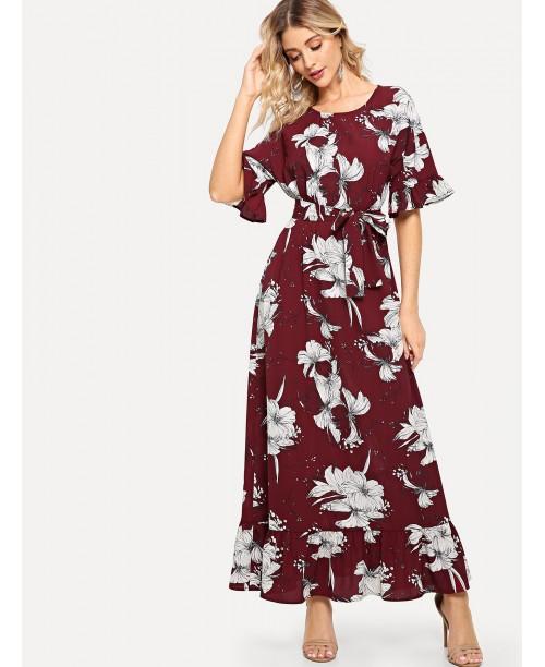 Flounce Sleeve Keyhole Back Floral Dress