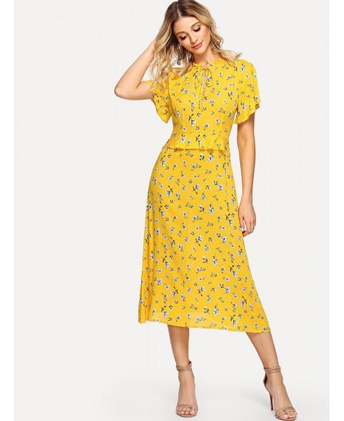 Flounce Sleeve Ruffle Trim Floral Print Dress