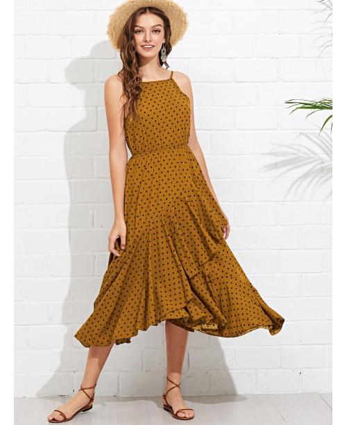 Flounce Wrap Hem Polka Dot Cami Dress