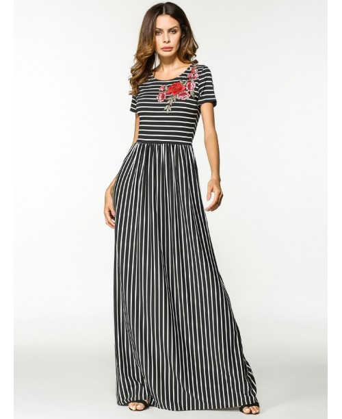 Flower Appliques Stripe Dress
